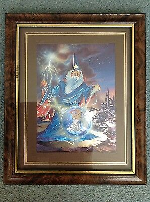 fantasy - wizard and fairy foil picture with walnut effect frame