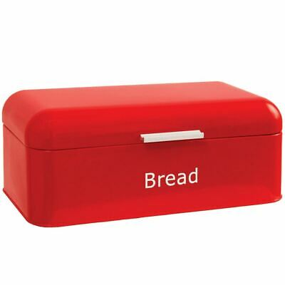 Bread Bin Curved Red Steel Kitchen Top Storage Roll Loaf Container Box
