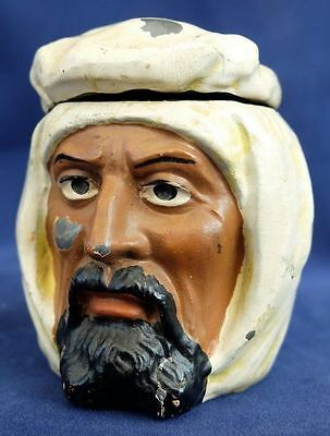 Rare figural Ink Well - an Arab Bedouin Turban Antique Vintage