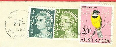 Australia 3 diff stamp with PERFIN used on cover to USA 1968