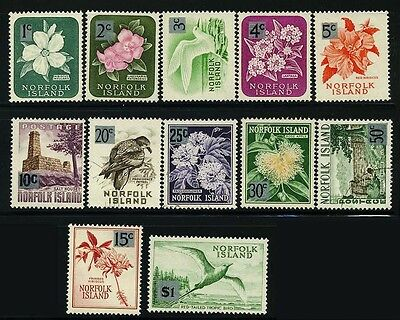 NORFOLK Is. SC71~82 (12) CplSet, 1966 Def. Surch. Birds and Flowers MH-U CV$10