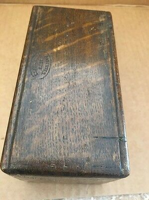 Vintage Wood Sewing Machine folding Accessory box Crown Attachments