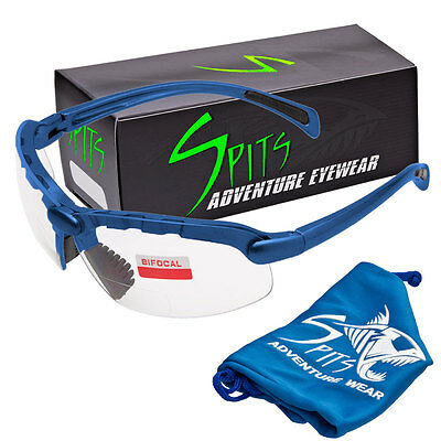 Spits C2 Blue  Bifocal Safety Glasses - Clear 1.75 - ANSI Z87.1+ Compliant