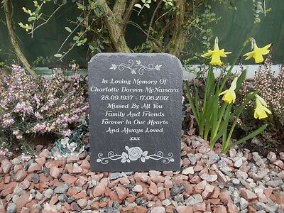 Natural Slate Memorial Grave Marker Headstone 9 Engraved Designs 17cm x 13cm FS1