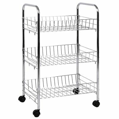 3 Tier Storage Trolley Cart Portable Stand Fruit Vegetable Food Chrome Kitchen  sc 1 st  PicClick UK & 3 TIER STORAGE Trolley Cart Portable Stand Fruit Vegetable Food ...
