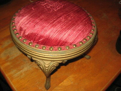 Antique Victorian Foot Stool Cast Iron Legs Edwardian Round Stool