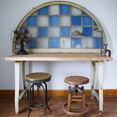 Huge Antique Vtg Arched Stained Glass Dome Window Architectural Decor Shabby OLD