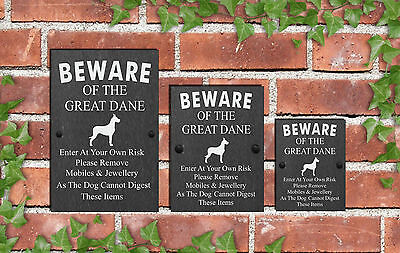 Humorous Beware of the Dog Slate Funny Gate House Sign 3 Sizes ALL BREEDS  D-L