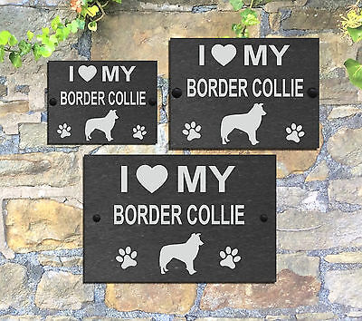 I Love My Dog with heart Slate Sign Gate House  3 Sizes ALL BREEDS available A-C