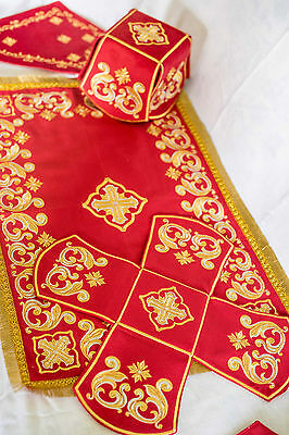 Chalice Covers Veils Orthodox Church Embroidered Red color