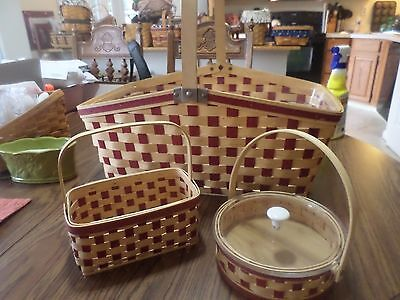 3  Longaberger Family Picnic Basket With Matching Two Pint Basket & Small Pie