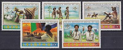 LESOTHO : 1982, 75th Anniv of Boy Scout Movement (Complete set of 5, MNH)