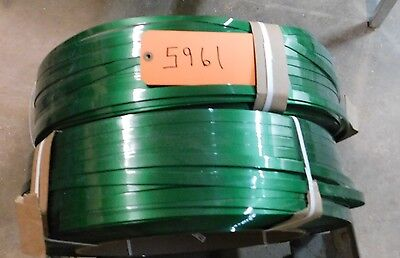"One Roll PAC LARGE x .590"" Green Waxed Polyester Strapping, Banding 10,500 ft?"