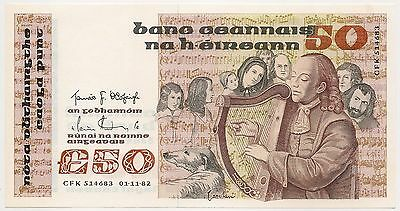 IRELAND 50 POUNDS 1982 UNC First date   RARE SCARCE