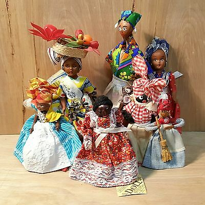 LOT of 7 VINTAGE ETHNIC DOLLS ~ 3 BLACK AMERICANA ~ 4 CARIBBEAN Tropical