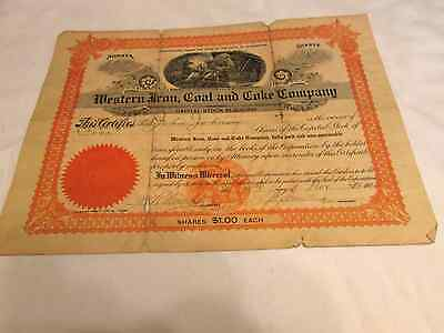 Western Iron, Coal and Coke Company stock certificate; 1906; vintage; circulated