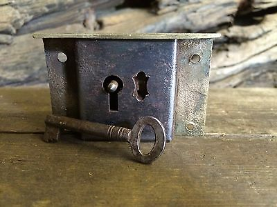 Vintage, Old Brass Draw Lock And Key