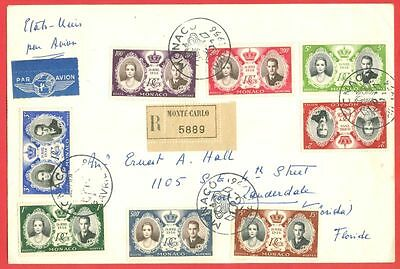 Monaco Wedding set of 8 used on Registered cover to USA 1955