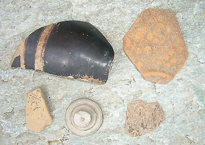 AUTHENTIC ANCIENT ATTIC POTTERY 5 FRAGMENTS ca. 5TH CENTURY BC
