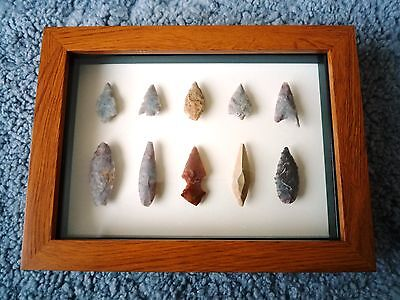 Neolithic Arrowheads in 3D Picture Frame, Authentic Artifacts 4000BC (0899)