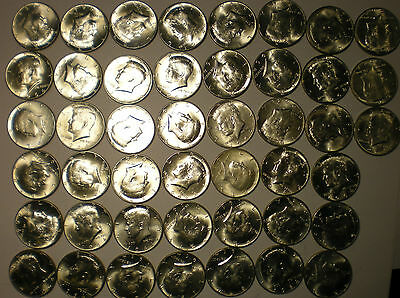 45 1964 Kennedy half dollars 90% silver coins almost all look unused lot