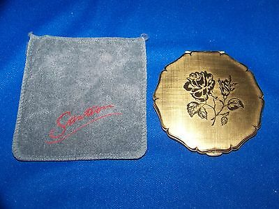 Vintage 1950's Stratton Rose Engraved Gold Makeup Compact Great Used Condition