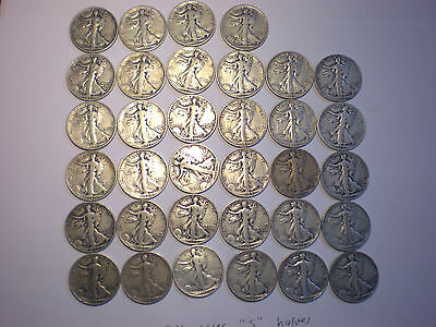 Walking Liberty silver half dollar lot of 34 halves all s mint mark
