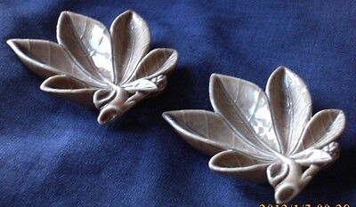 Pair Vintage Porcelain Wade Leaf Shaped Pin / Trinket Dishes, Made in Ireland