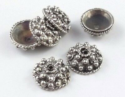 6 x Bumpy Bali Sterling Silver Oxidized 8mm Bead Caps Focal Design (140)