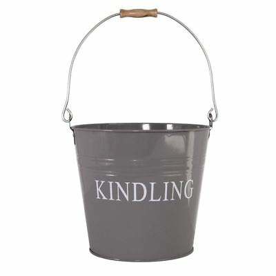 KINDLING BUCKET Grey Storage Basket Metal Hod Ash Firelog Wood Fuel Holder