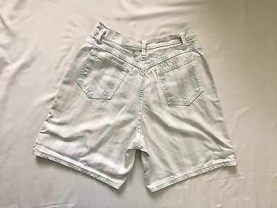 Vintage 80s 90s Two-Tone Striped High Waist Denim Mom Jean Shorts Hip Hop 14