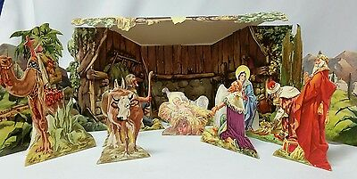 1940s Vintage 16 Pc. Stand Up Cardboard Nativity Set in Box Reproducta Co  2087