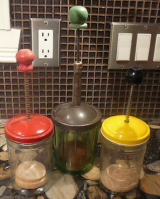 3 vintage FOOD CHOPPERS GREEN GLASS LORRAINE MFG NEW YOURK +  2 ANDROCK  CANADA