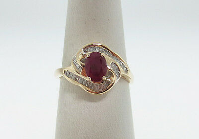 Estate Natural Red Ruby Diamonds Solid 14K Yellow Gold Ring FREE Sizing
