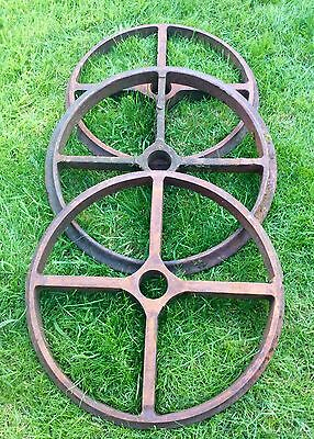 3 Large Vintage Cast Iron 4 Spoke Agricultural Industrial Wheels Antique 1890's