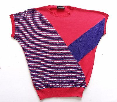 Women's Vintage 80's Capped Sleeve Knit Top Retro Boho 12