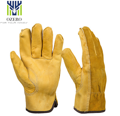 NEW Work Gloves Leather Cowhide For Garden Driving Safe Working Protective OZERO