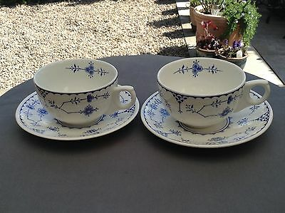 Furnivals Blue  Denmark Tea Cups And Saucers X 2