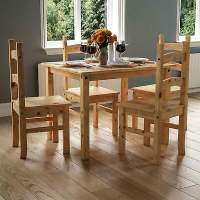Corona 4 Seater Dining Set Chairs Table Solid Waxed Pine 5 Piece Furniture
