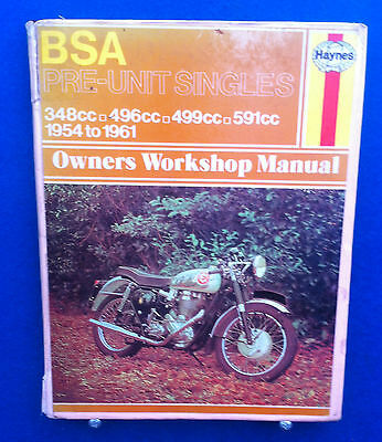Haynes Bsa Pre Unit Singles Motorcycle Manual 1954 - 1961 Good Used Condition