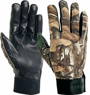 cabelas camoflauge shooting gloves light weight small leather camo realtree