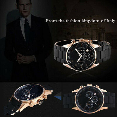 Luxury Men's Silicon Band Watches Stainless Steel Case Date Dial Wrist Watches