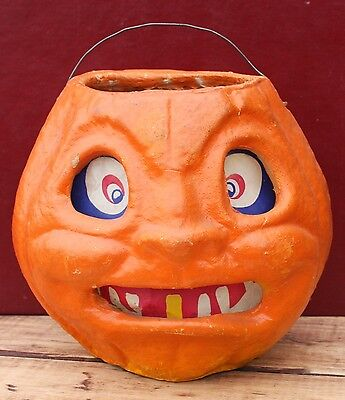 Vintage Paper Mache Jack O Lantern Scary Spooky Face Crazy Eye Orange Pumpkin