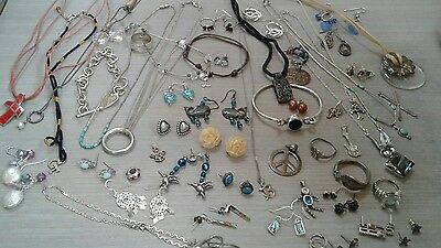 217g sterling silver lot jewelry. pre owned condition. stones, beads, vintage+