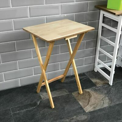 Folding Snack Table Natural Wood TV Side Laptop Coffee Tea Portable Bench