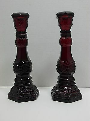 Avon 1876 Cape Cod Candle Holders Ruby Red Glass Set of 2 Taper Vintage