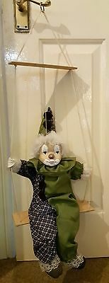 Vintage Marionette Clown On Swing