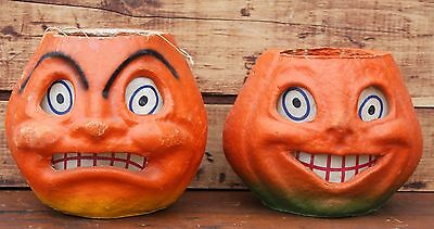 Vintage Paper Mache Jack O Lantern Happy Scary Face Crazy Eye Orange Pumpkin