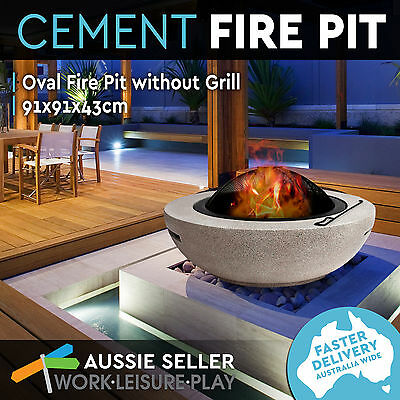 NEW Cement Oval Fire Pit Outdoor Open Fireplace Heater Bowl with Base Grill