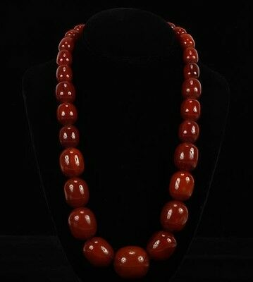 "HUGE ANTIQUE CHERRY AMBER BAKELITE FATURAN  BEADS - 153 grams & 25"" inches"
